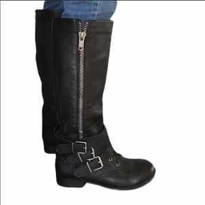 ALDO (9) Black Pebbled Leather Zip Up Boots NEW!!!